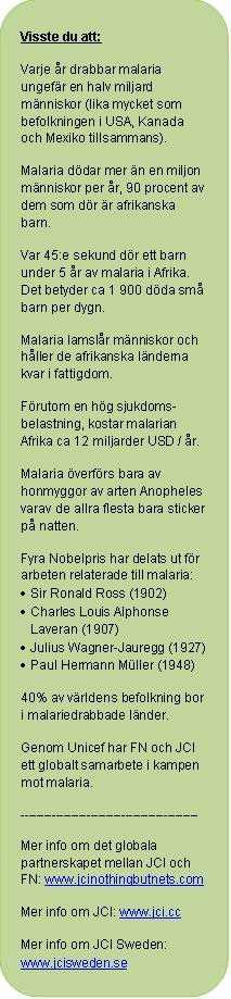 Fakta om malaria