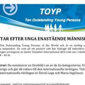 Sista nomineringsdagarna för TOYP 2012